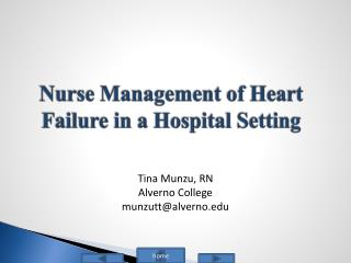 Nurse Management of Heart Failure in a Hospital Setting