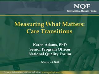 Measuring What Matters: Care Transitions