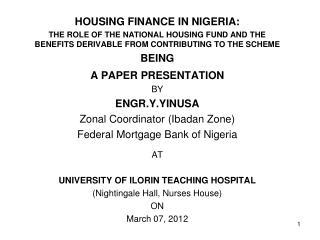 HOUSING FINANCE IN NIGERIA: