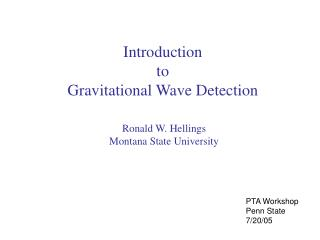 Introduction  to  Gravitational Wave Detection
