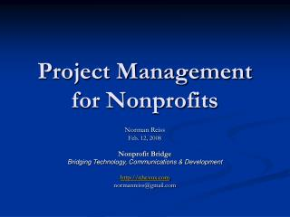Project Management for Nonprofits