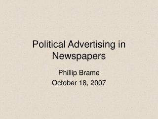 Political Advertising in Newspapers