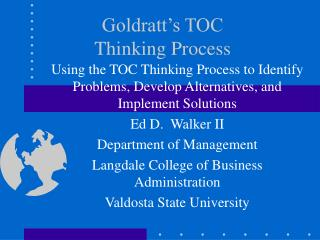 Goldratt's TOC Thinking Process