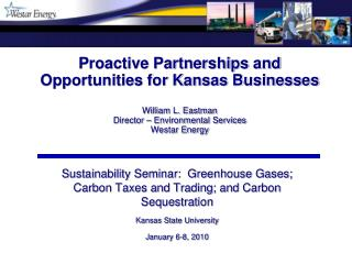 Sustainability Seminar:  Greenhouse Gases; Carbon Taxes and Trading; and Carbon Sequestration