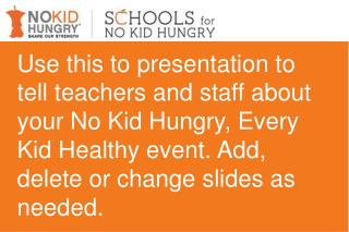 No Kid Hungry, Every Kid Healthy Event