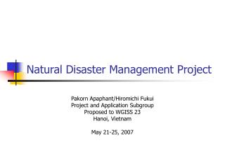 Natural Disaster Management Project
