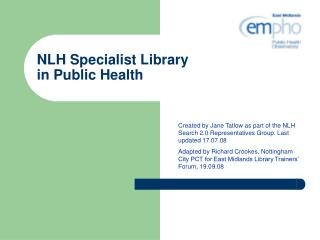 NLH Specialist Library  in Public Health