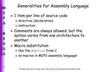 Generalities for Assembly Language