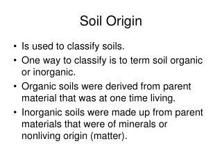 Soil Origin