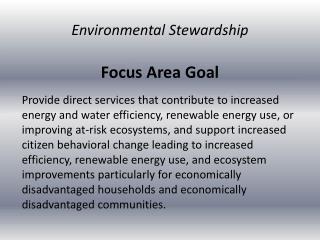 Focus Area Goal