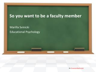 So you want to be a faculty member