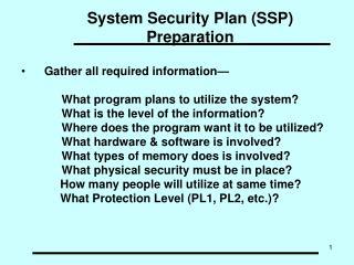 System Security Plan (SSP) Preparation