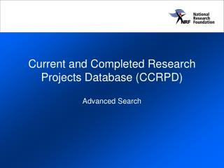 Current and Completed Research Projects Database (CCRPD)