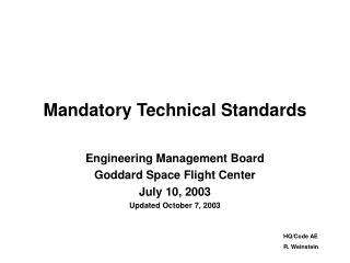 Mandatory Technical Standards