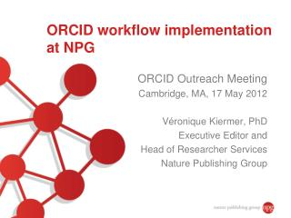 ORCID workflow implementation at NPG