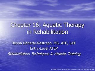Chapter 16: Aquatic Therapy in Rehabilitation