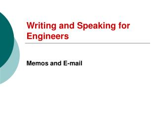 Writing and Speaking for Engineers