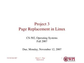 Project 3 Page Replacement in Linux