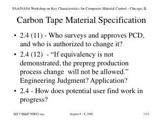 Carbon Tape Material Specification