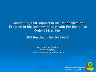 NSM Resolution No. 2005-01-02