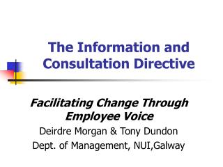 The Information and Consultation Directive