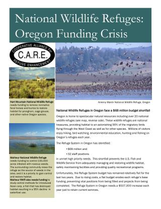 National Wildlife Refuges in Oregon face a $68 million budget shortfall