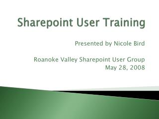 Sharepoint User Training
