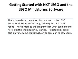 Getting Started with NXT LEGO and the LEGO  Mindstorms  Software