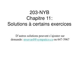 203-NYB Chapitre 11: Solutions à certains exercices