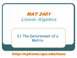 MAT 2401 Linear Algebra