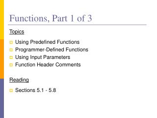 Functions, Part 1 of 3