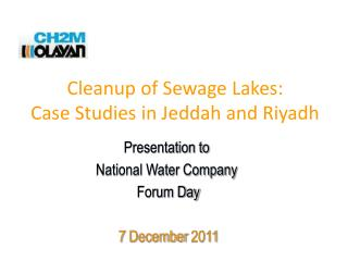 Cleanup of Sewage Lakes: Case Studies in Jeddah and Riyadh