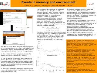 Events in memory and environment Steve M. J. Janssen , Antonio G. Chessa & Jaap M. J. Murre