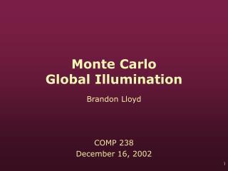 Monte Carlo  Global Illumination