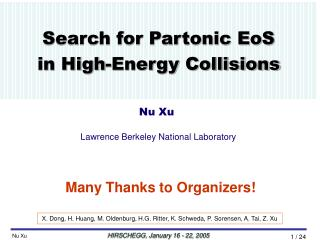 Search for Partonic EoS  in High-Energy Collisions