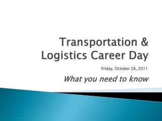 Transportation & Logistics Career Day