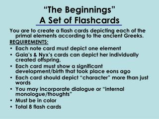 """""""The Beginnings""""  A Set of Flashcards"""