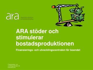 ARA stöder och  stimulerar bostadsproduktionen Finansierings- och utvecklingscentralen för boendet