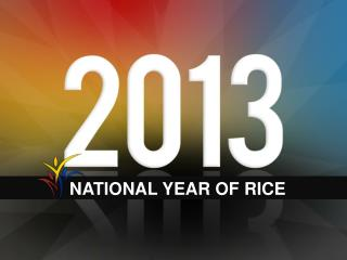NATIONAL YEAR OF RICE
