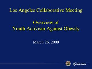 Los Angeles Collaborative Meeting Overview of  Youth Activism Against Obesity