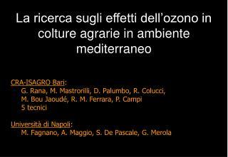 CRA-ISAGRO Bari : G. Rana, M. Mastrorilli, D. Palumbo, R. Colucci,