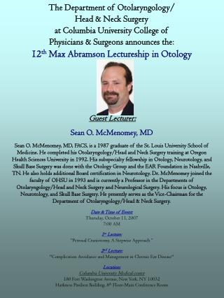 Guest Lecturer: Sean O. McMenomey, MD