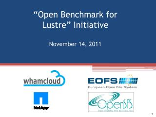 """Open Benchmark for  Lustre "" Initiative November 14, 2011"