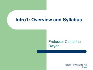 Intro1: Overview and Syllabus