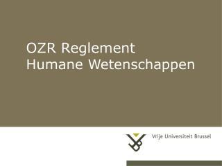 OZR Reglement Humane Wetenschappen