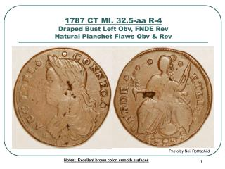 1787 CT MI. 32.5-aa R-4 Draped Bust Left Obv, FNDE Rev Natural Planchet Flaws Obv & Rev