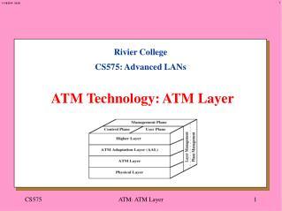 Rivier College CS575: Advanced LANs ATM Technology: ATM Layer