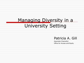 Managing Diversity in a University Setting