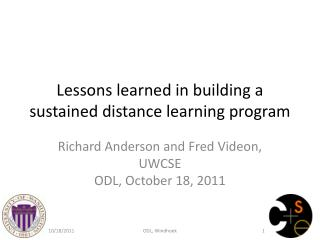 Lessons learned in building a sustained distance learning program