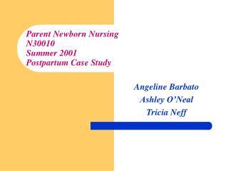 Parent Newborn Nursing N30010 Summer 2001 Postpartum Case Study